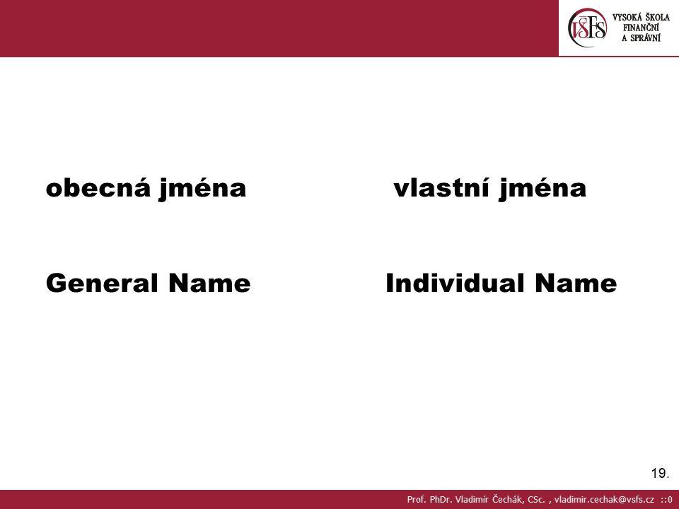 obecná jména vlastní jména