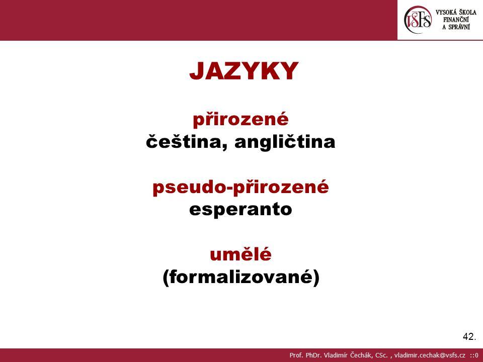 JAZYKY přirozené čeština, angličtina pseudo-přirozené esperanto umělé
