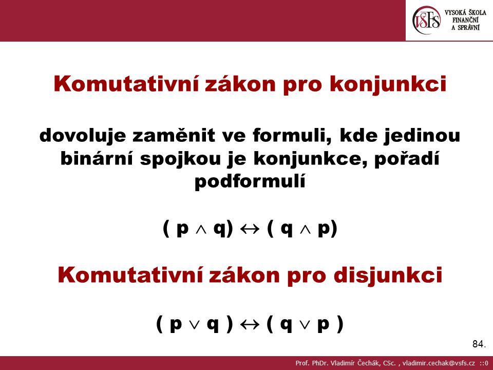 Komutativní zákon pro konjunkci Komutativní zákon pro disjunkci
