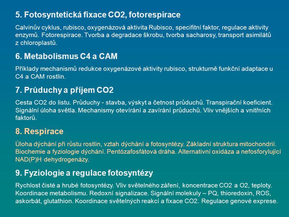 5. Fotosyntetická fixace CO2, fotorespirace