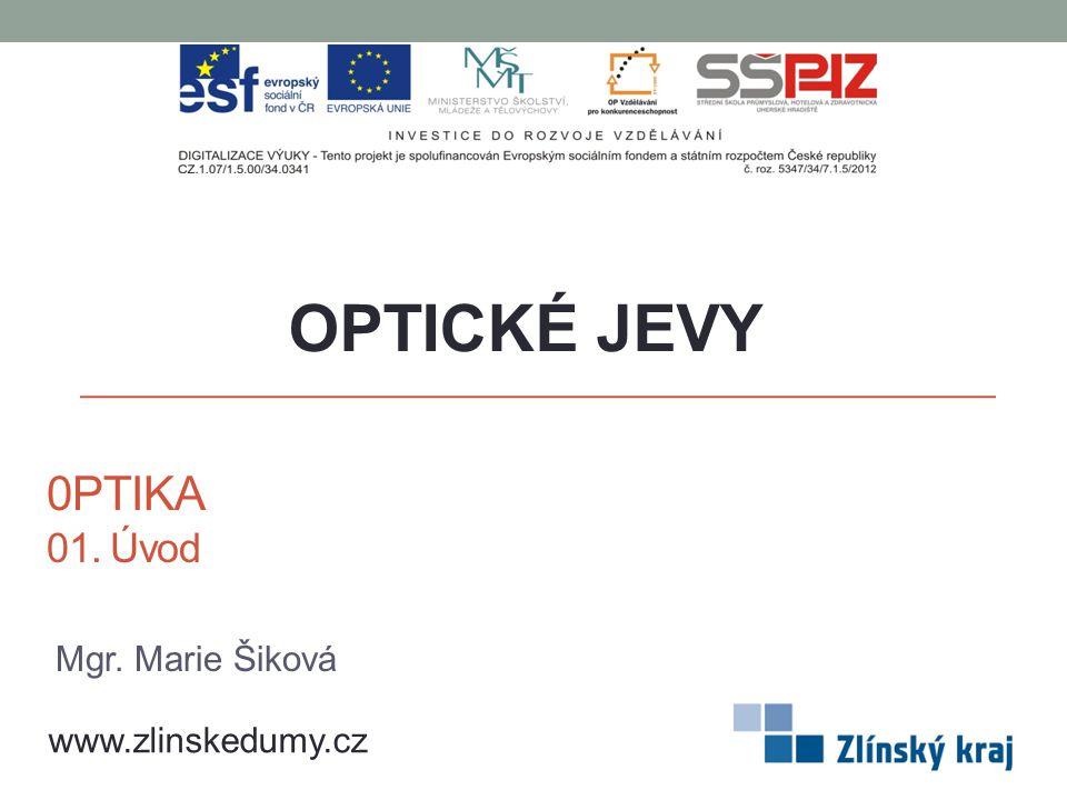OPTICKÉ JEVY 0PTIKA 01. Úvod Mgr. Marie Šiková www.zlinskedumy.cz
