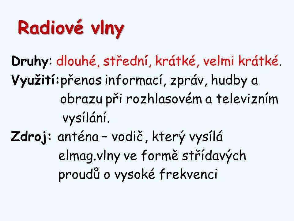 Radiové vlny Druhy: dlouhé, střední, krátké, velmi krátké.
