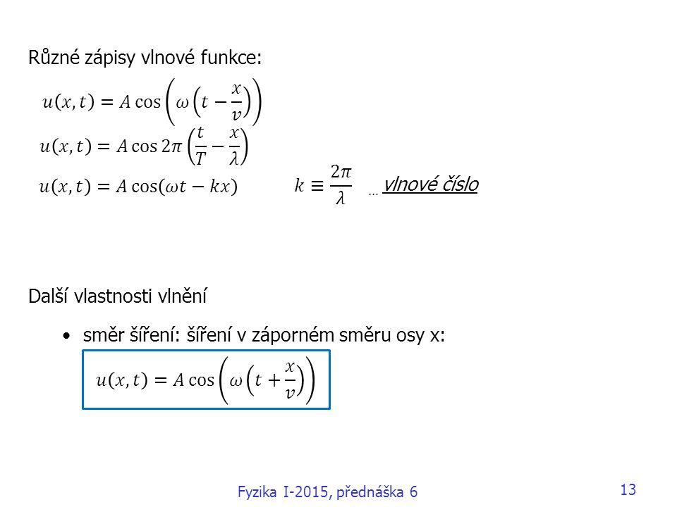 Různé zápisy vlnové funkce: