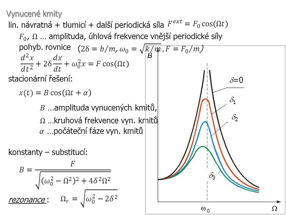 Vynucené kmity 𝐹 𝑒𝑥𝑡 = 𝐹 0 cos Ω𝑡. lin. návratná + tlumicí + další periodická síla. 𝐹 0 , Ω … amplituda, úhlová frekvence vnější periodické síly.
