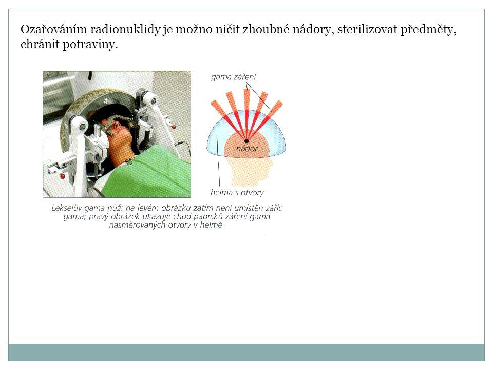 Ozařováním radionuklidy je možno ničit zhoubné nádory, sterilizovat předměty, chránit potraviny.