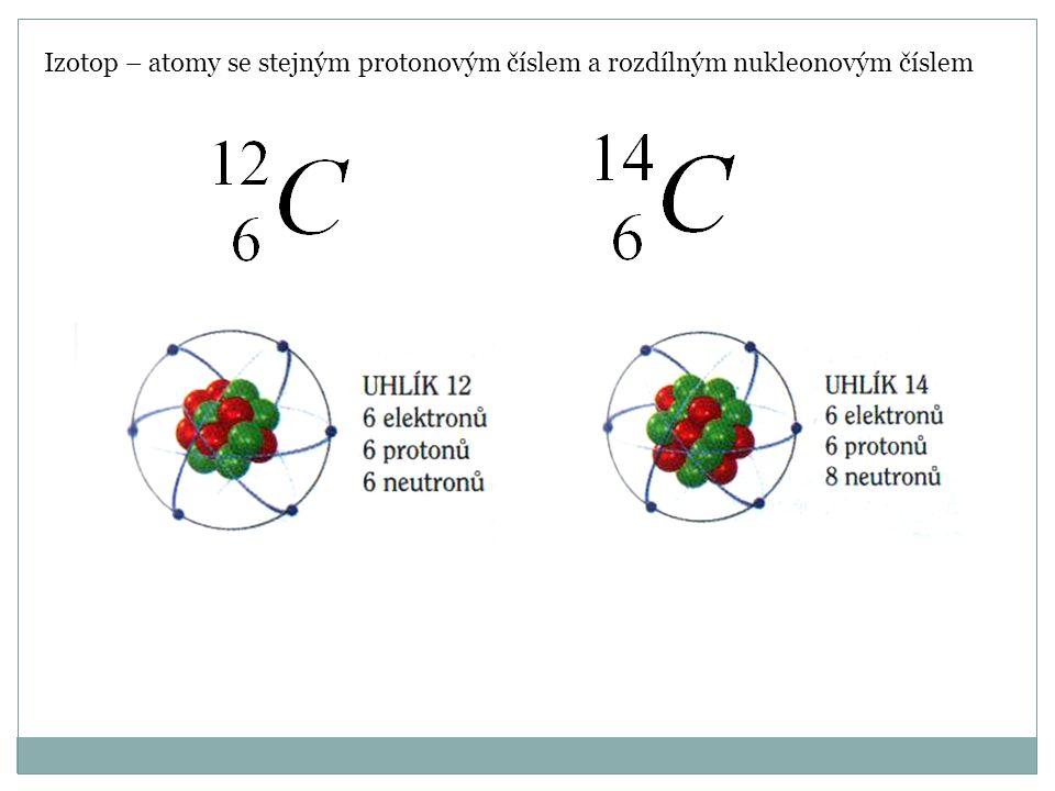 Izotop – atomy se stejným protonovým číslem a rozdílným nukleonovým číslem
