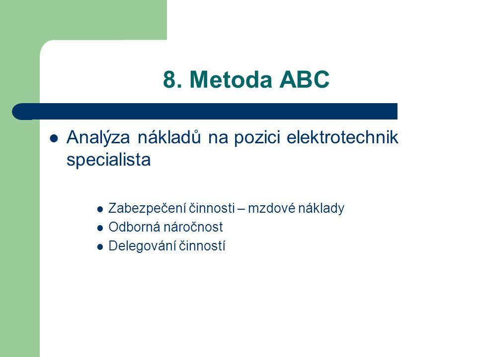 8. Metoda ABC Analýza nákladů na pozici elektrotechnik specialista