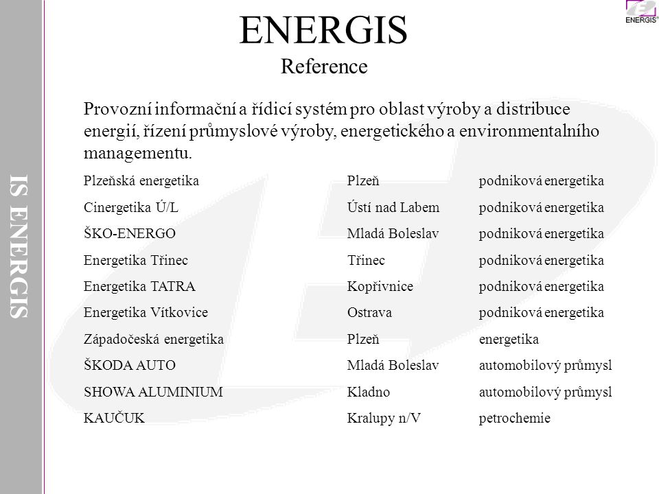 ENERGIS Reference IS ENERGIS