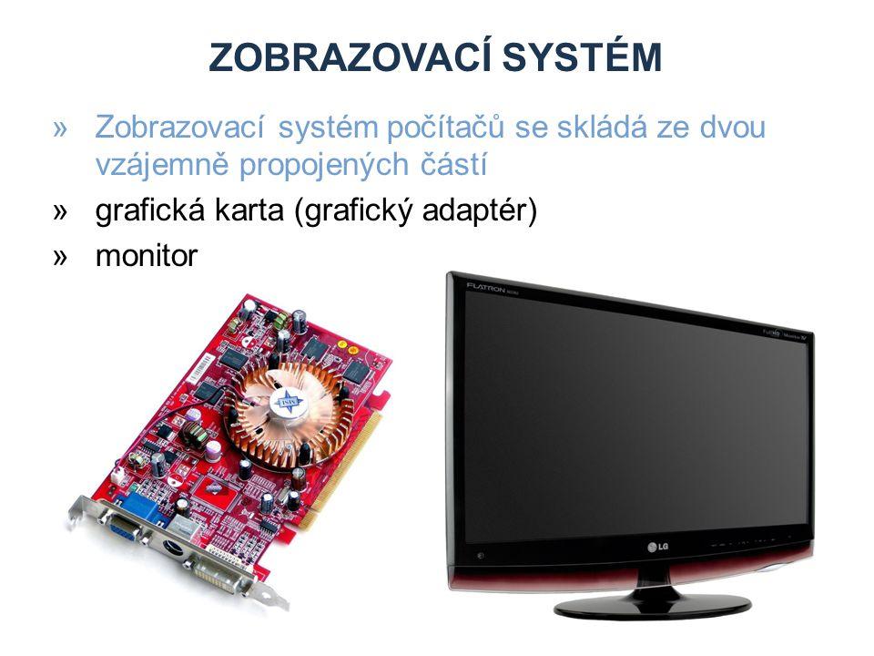 Zobrazovací systém Zobrazovací systém počítačů se skládá ze dvou vzájemně propojených částí. grafická karta (grafický adaptér)