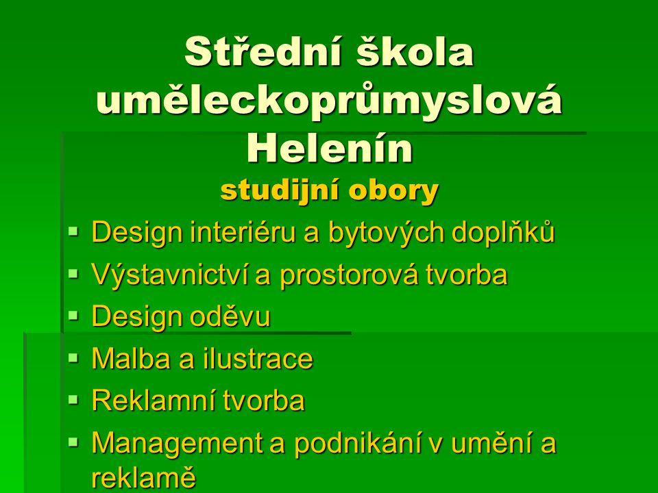 Střední škola uměleckoprůmyslová Helenín studijní obory