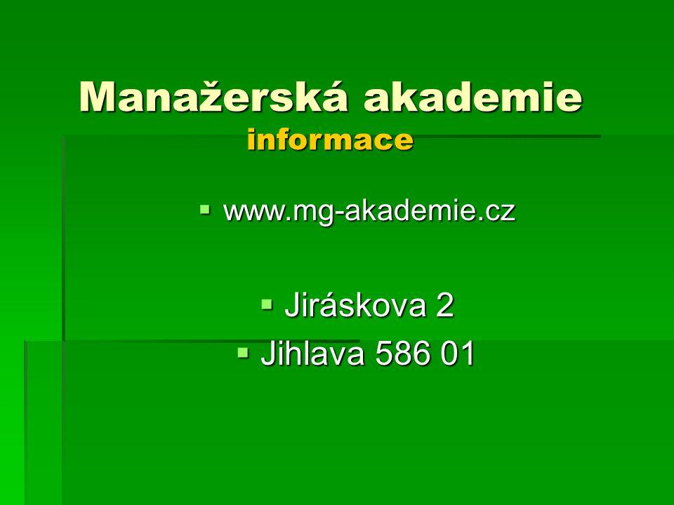 Manažerská akademie informace