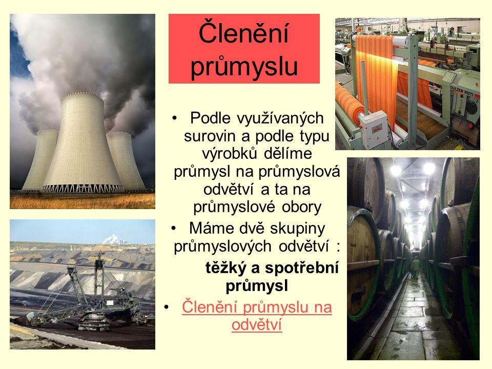 Členění průmyslu Podle využívaných surovin a podle typu výrobků dělíme průmysl na průmyslová odvětví a ta na průmyslové obory.