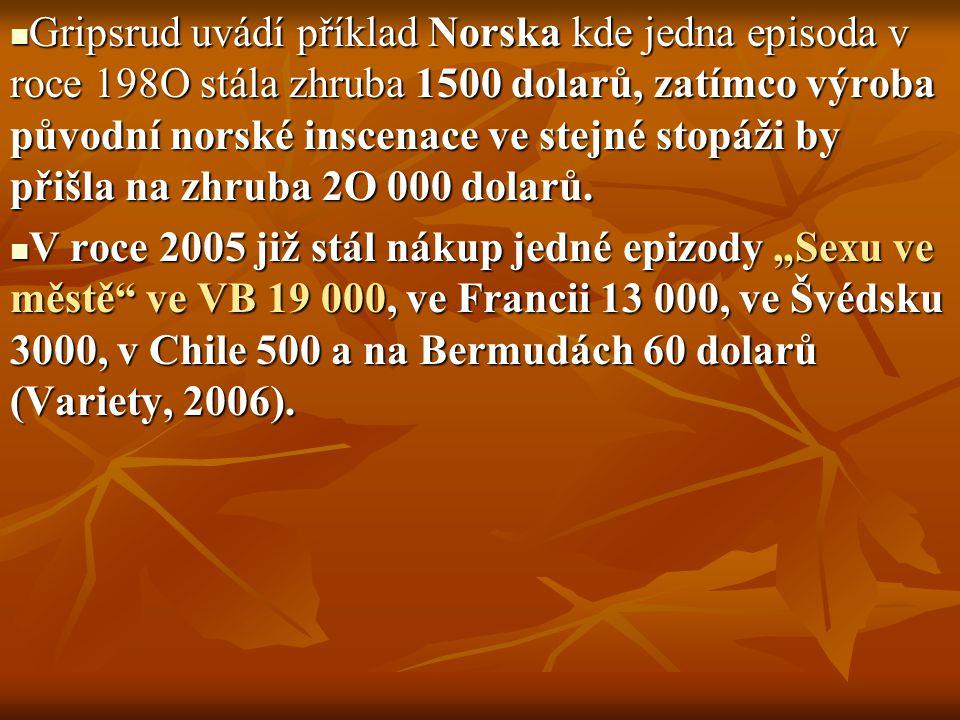 Gripsrud uvádí příklad Norska kde jedna episoda v roce 198O stála zhruba 1500 dolarů, zatímco výroba původní norské inscenace ve stejné stopáži by přišla na zhruba 2O 000 dolarů.