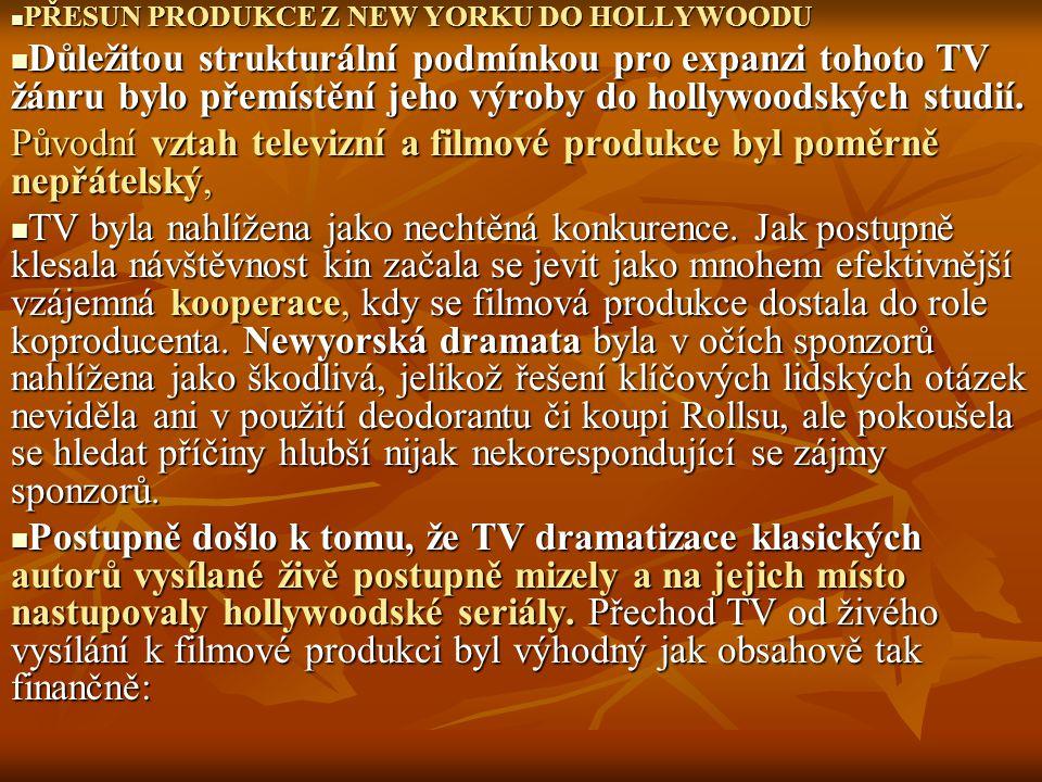 Původní vztah televizní a filmové produkce byl poměrně nepřátelský,