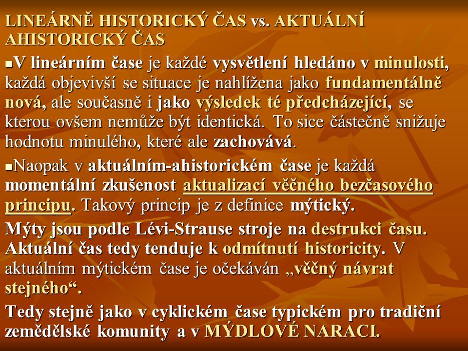 LINEÁRNĚ HISTORICKÝ ČAS vs. AKTUÁLNÍ AHISTORICKÝ ČAS
