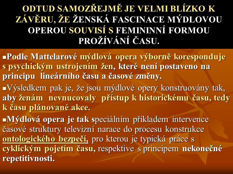 ODTUD SAMOZŘEJMĚ JE VELMI BLÍZKO K ZÁVĚRU, ŽE ŽENSKÁ FASCINACE MÝDLOVOU OPEROU SOUVISÍ S FEMININNÍ FORMOU PROŽÍVÁNÍ ČASU.
