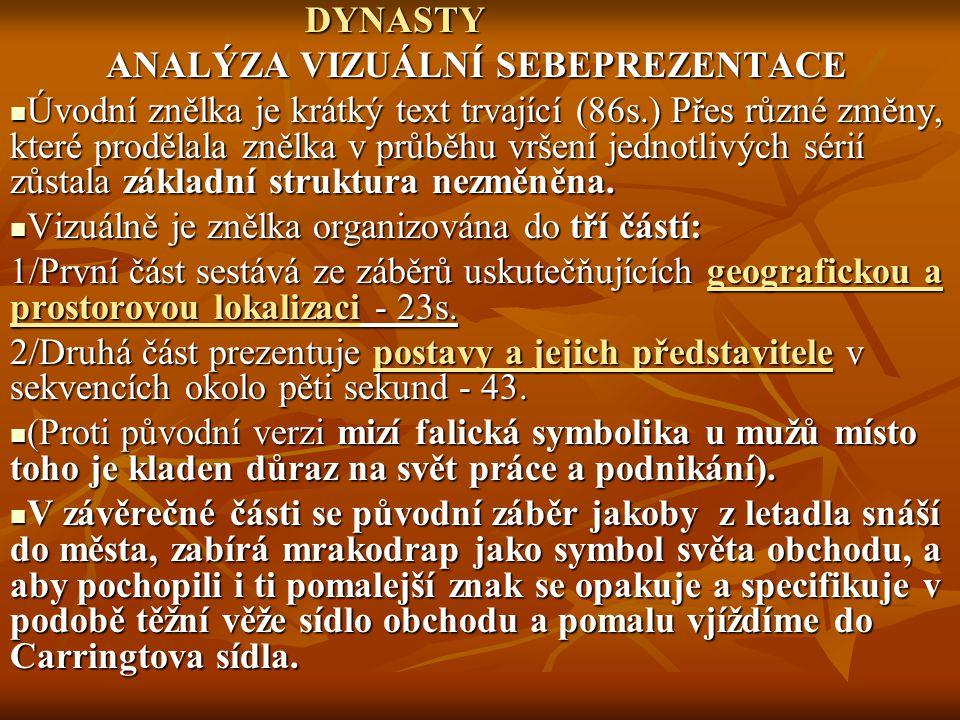 DYNASTY ANALÝZA VIZUÁLNÍ SEBEPREZENTACE.