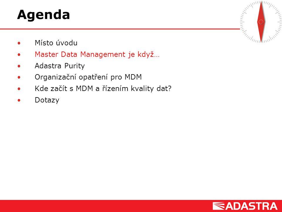Agenda Místo úvodu Master Data Management je když… Adastra Purity