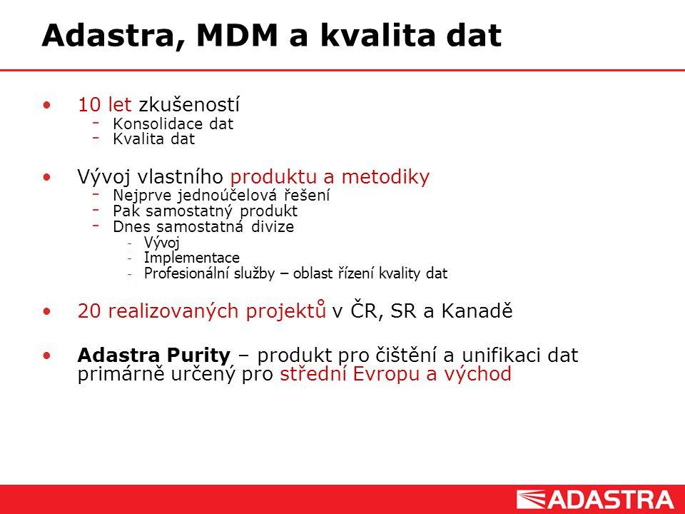 Adastra, MDM a kvalita dat