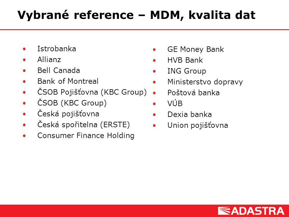 Vybrané reference – MDM, kvalita dat