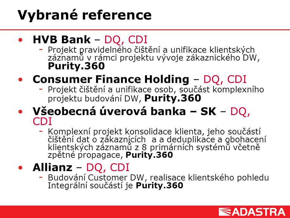 Vybrané reference HVB Bank – DQ, CDI