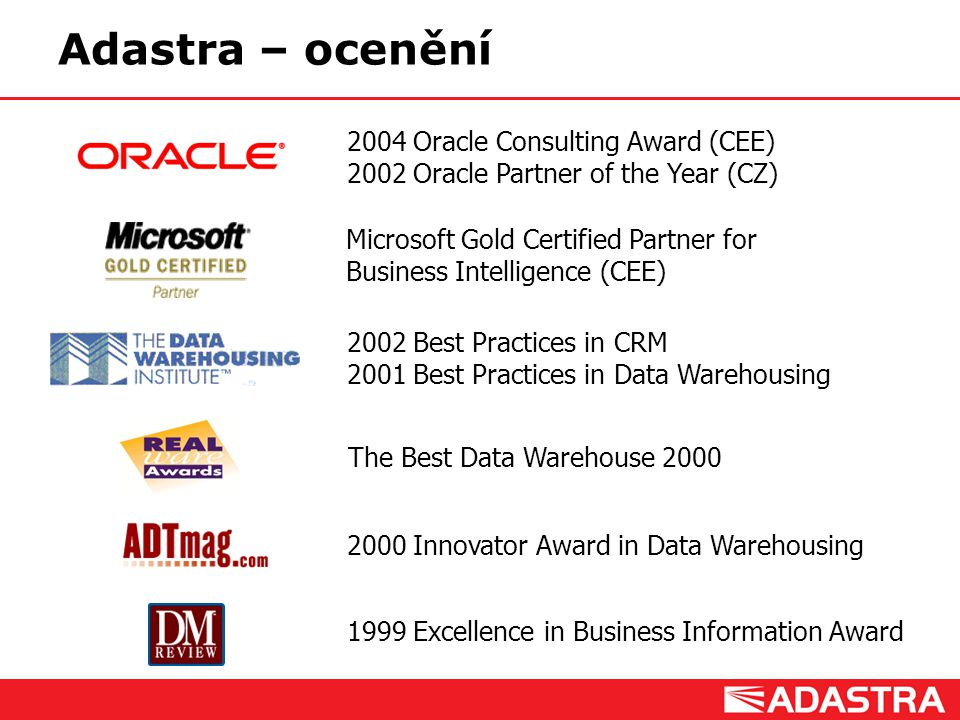 Adastra – ocenění 2004 Oracle Consulting Award (CEE)