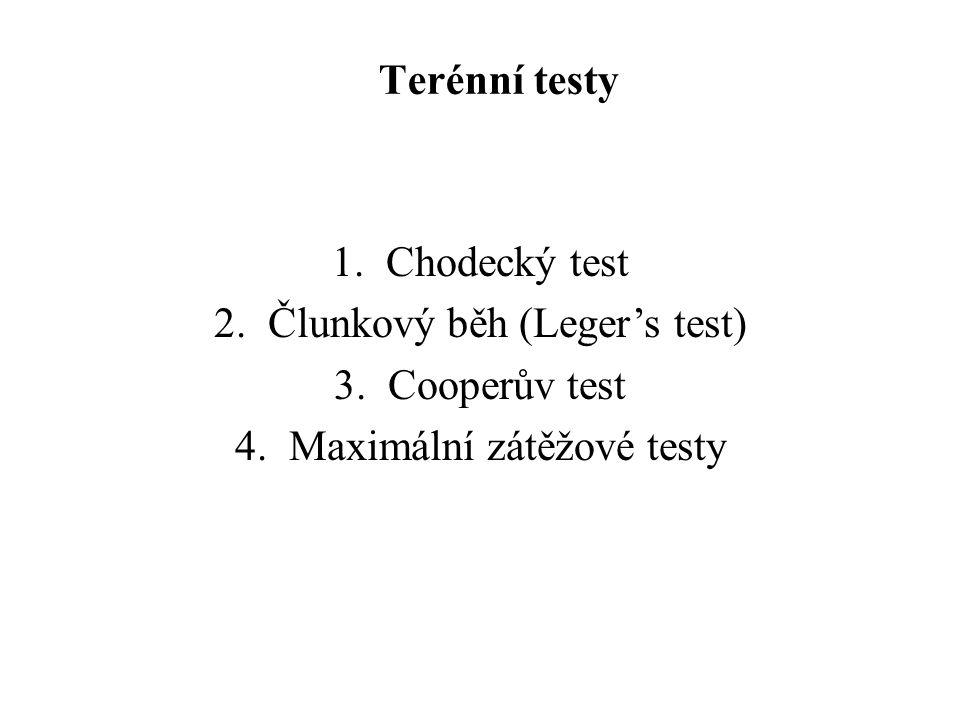 Člunkový běh (Leger's test) Cooperův test Maximální zátěžové testy