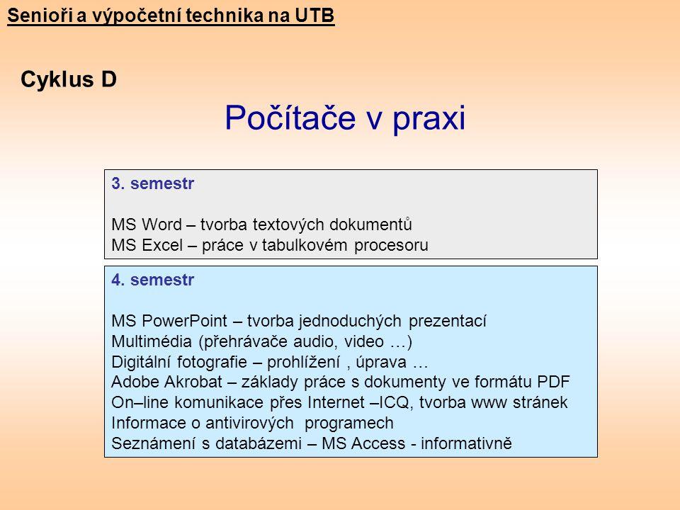 Cyklus D Počítače v praxi Senioři a výpočetní technika na UTB