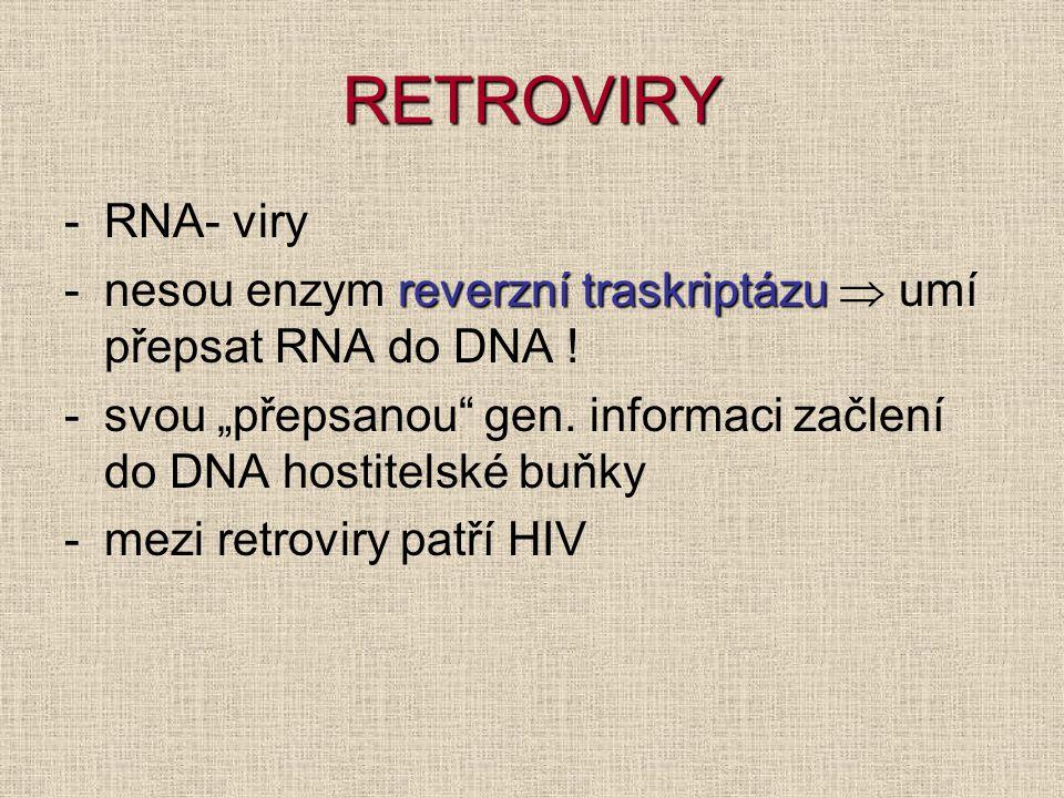 """RETROVIRY RNA- viry. nesou enzym reverzní traskriptázu  umí přepsat RNA do DNA ! svou """"přepsanou gen. informaci začlení do DNA hostitelské buňky."""