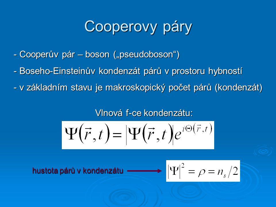 "Cooperovy páry Cooperův pár – boson (""pseudoboson )"