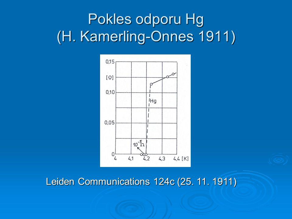 Pokles odporu Hg (H. Kamerling-Onnes 1911)