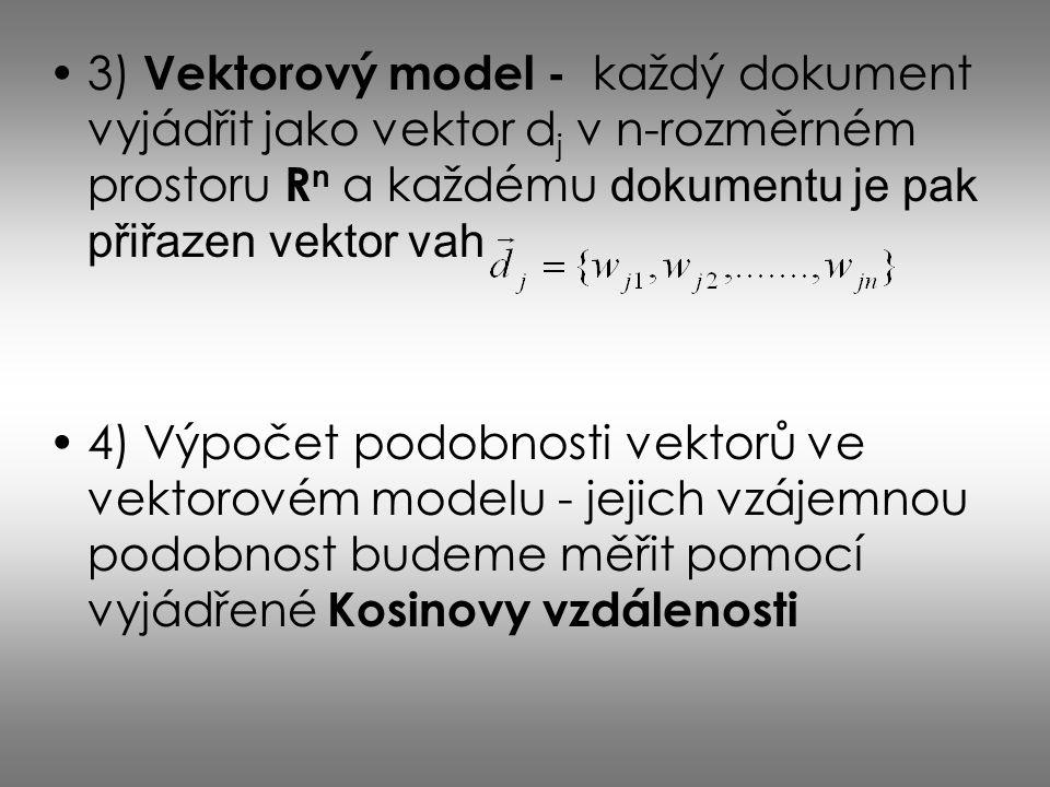 3) Vektorový model - každý dokument vyjádřit jako vektor dj v n-rozměrném prostoru Rn a každému dokumentu je pak přiřazen vektor vah