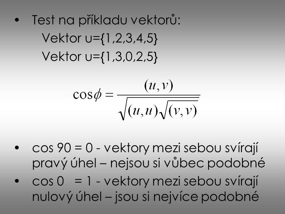 Test na příkladu vektorů:
