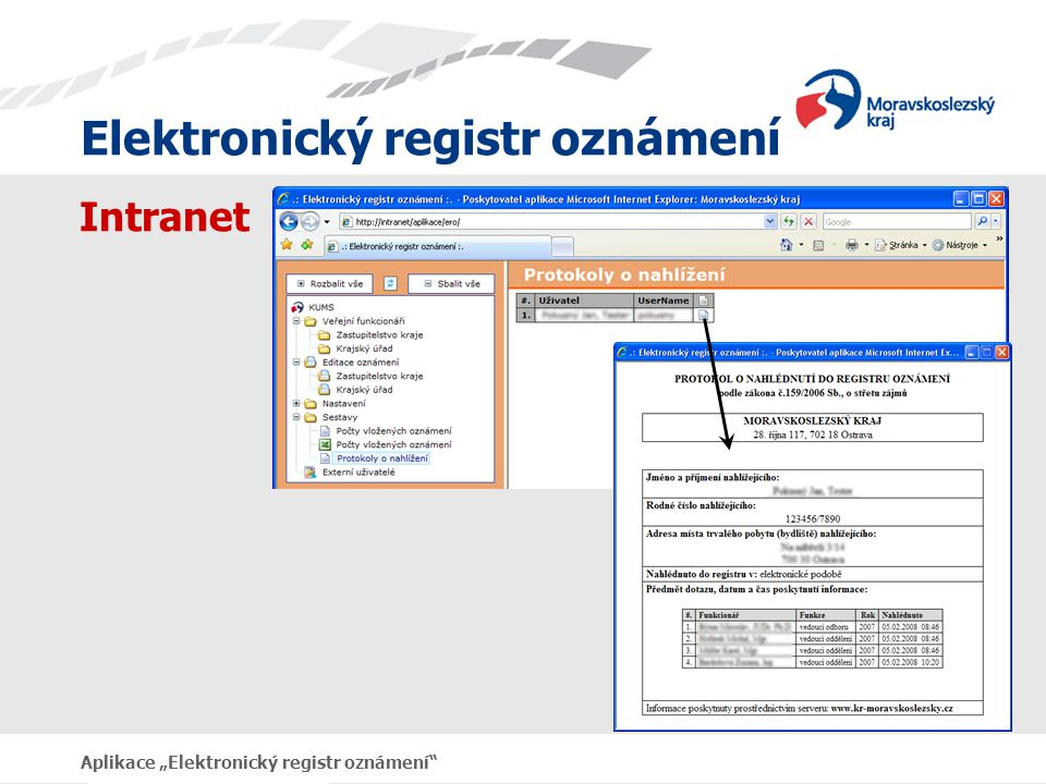 """Intranet Aplikace """"Elektronický registr oznámení"""