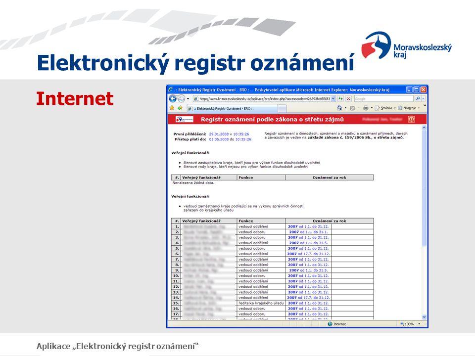 """Internet Aplikace """"Elektronický registr oznámení"""