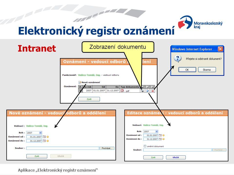 """Intranet Zobrazení dokumentu Aplikace """"Elektronický registr oznámení"""