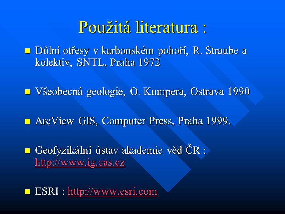 Použitá literatura : Důlní otřesy v karbonském pohoří, R. Straube a kolektiv, SNTL, Praha 1972. Všeobecná geologie, O. Kumpera, Ostrava 1990.