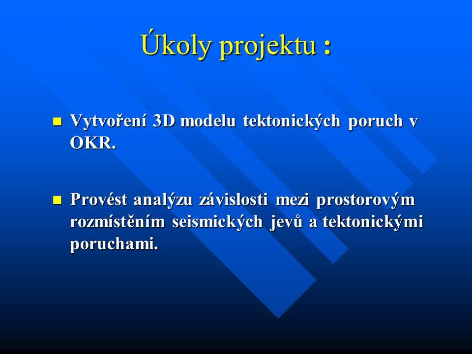 Úkoly projektu : Vytvoření 3D modelu tektonických poruch v OKR.