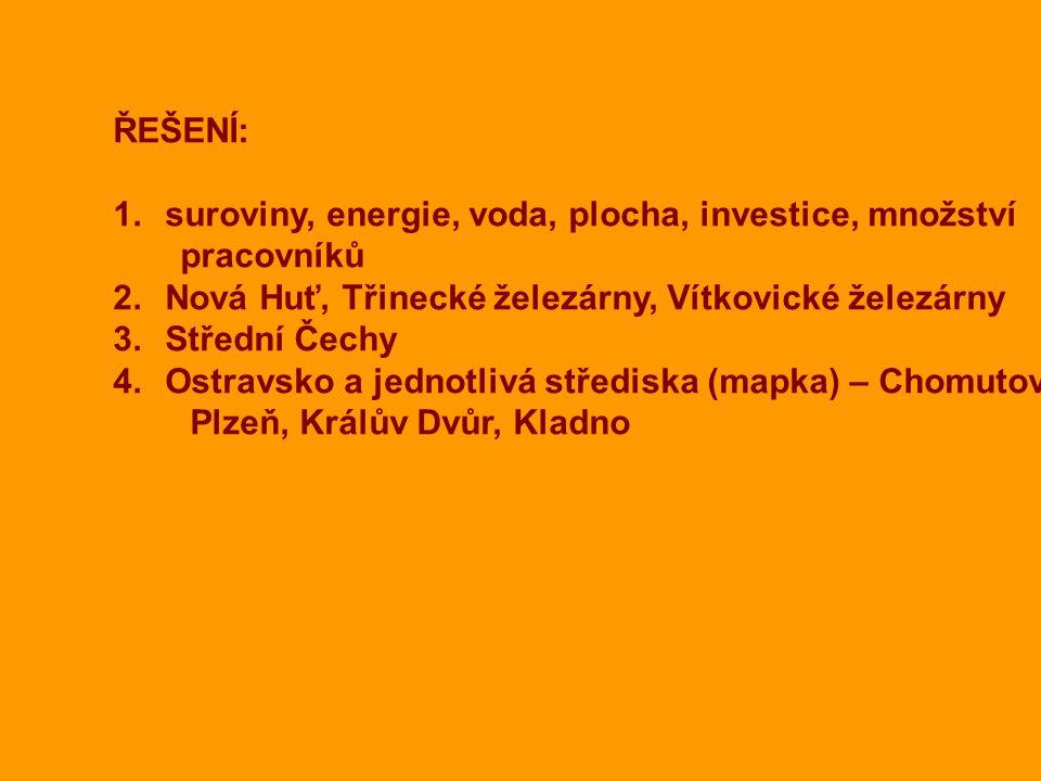 ŘEŠENÍ: suroviny, energie, voda, plocha, investice, množství. pracovníků. Nová Huť, Třinecké železárny, Vítkovické železárny.