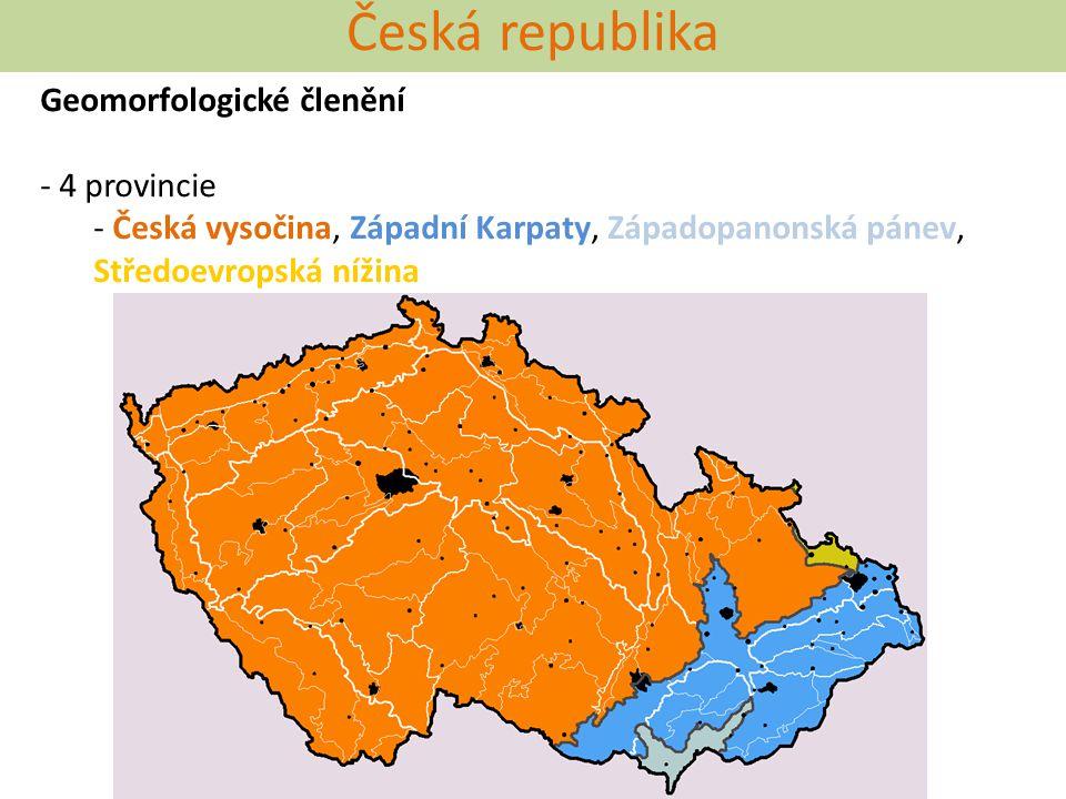 Česká republika Geomorfologické členění 4 provincie
