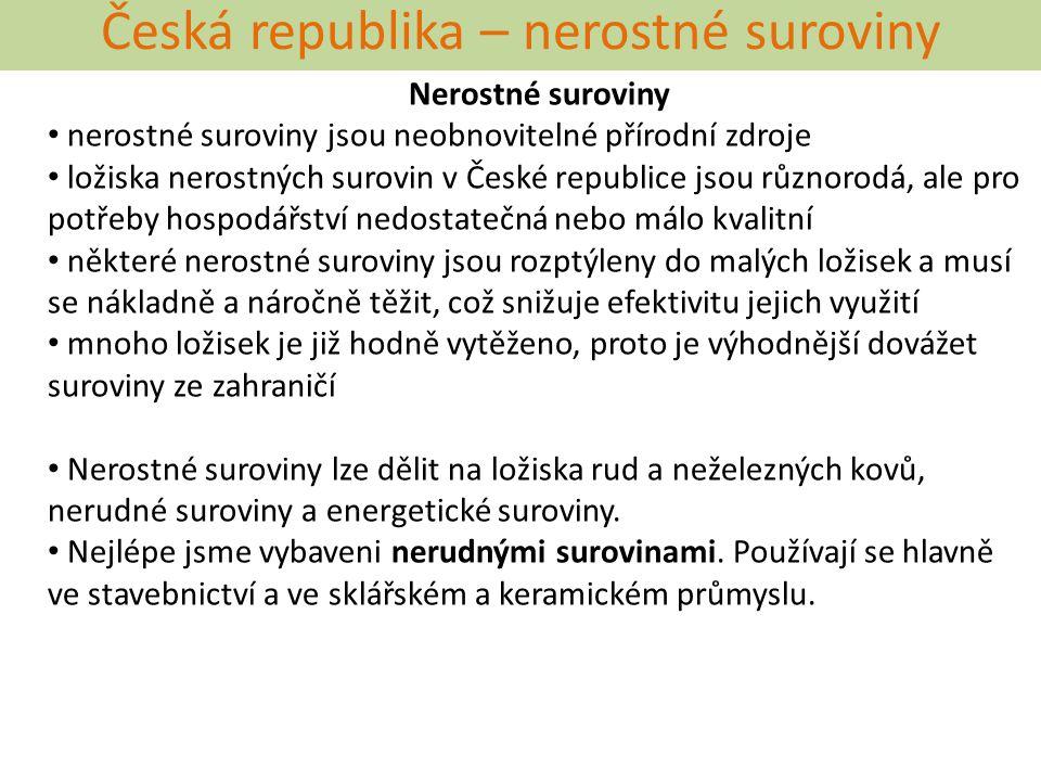 Česká republika – nerostné suroviny