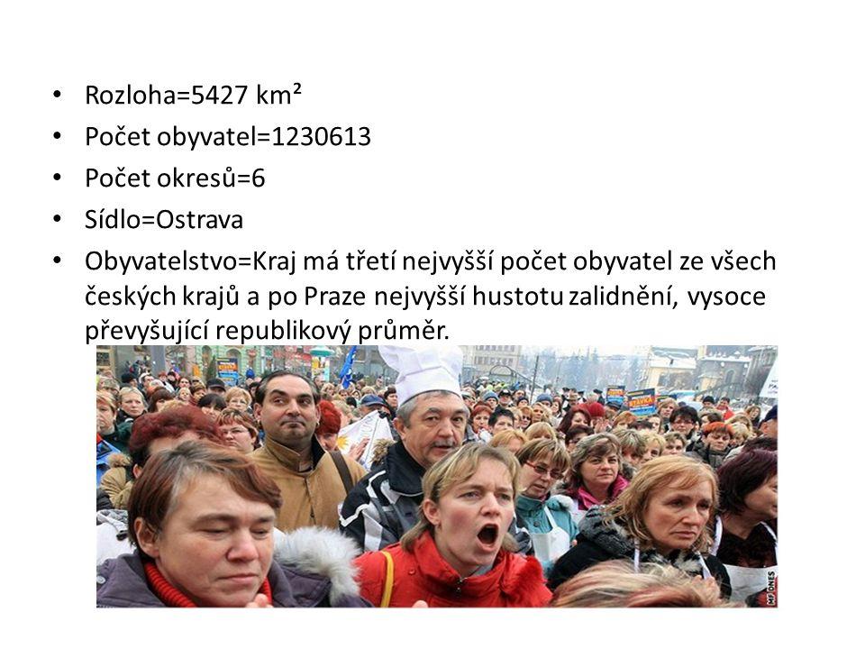 Rozloha=5427 km² Počet obyvatel=1230613. Počet okresů=6. Sídlo=Ostrava.