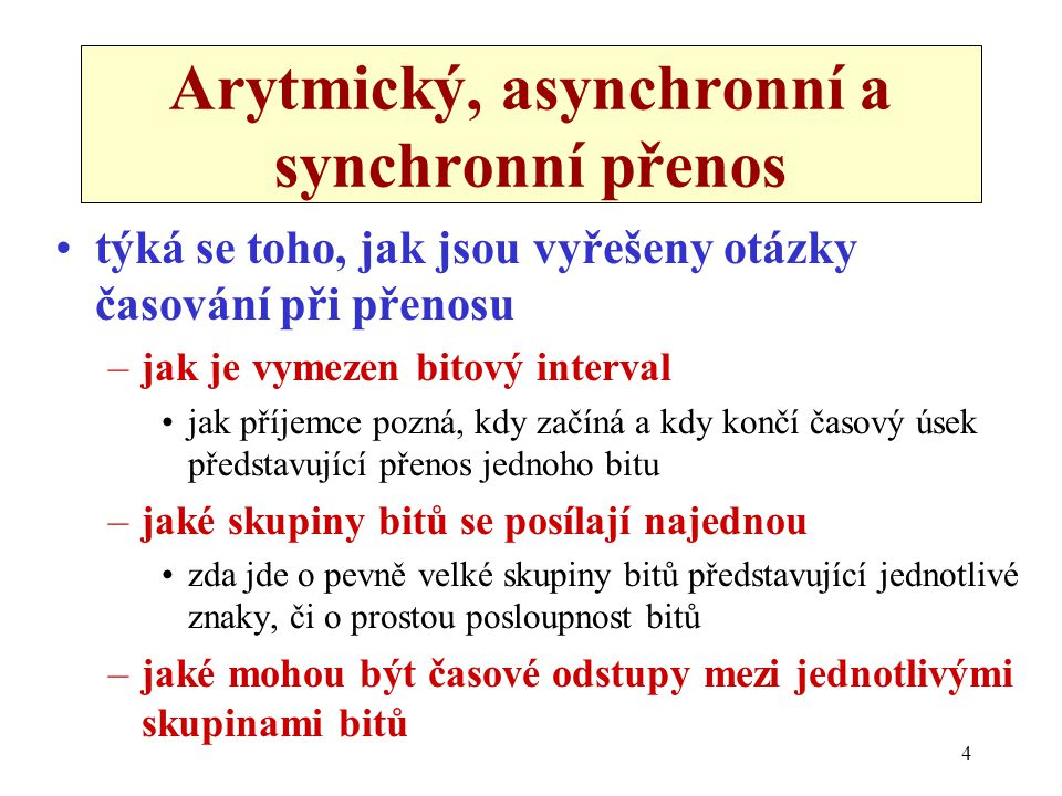 Arytmický, asynchronní a synchronní přenos