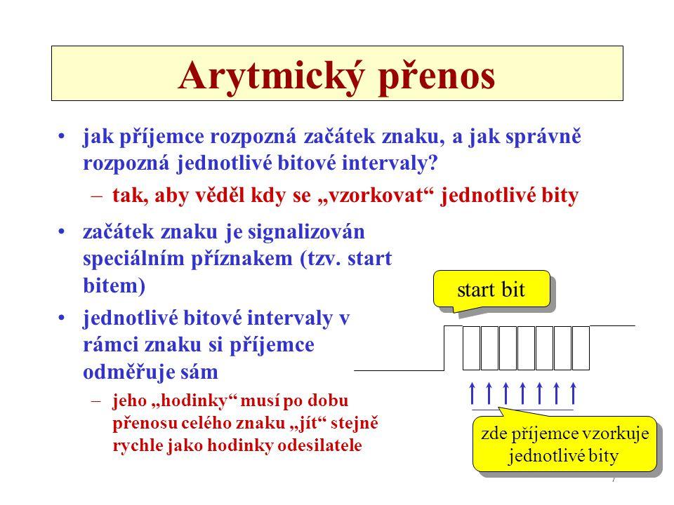 Arytmický přenos jak příjemce rozpozná začátek znaku, a jak správně rozpozná jednotlivé bitové intervaly