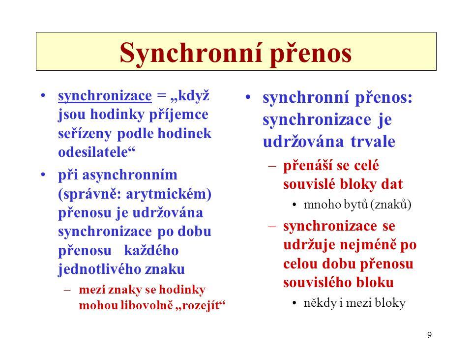 Synchronní přenos synchronní přenos: synchronizace je udržována trvale