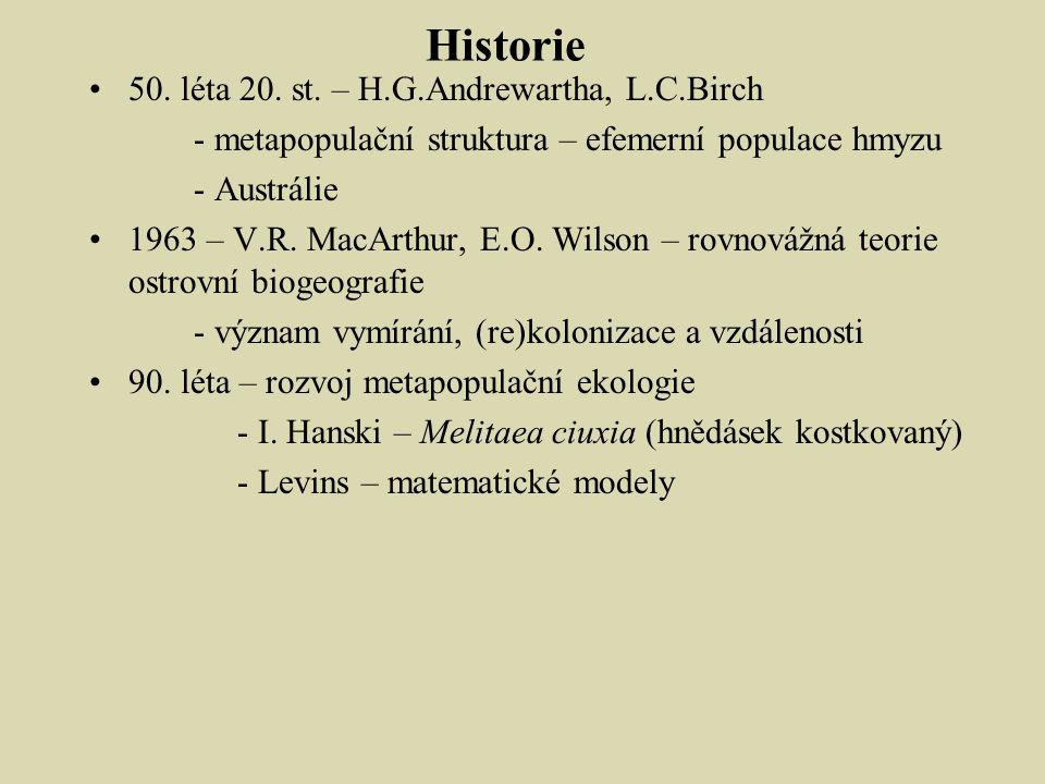 Historie 50. léta 20. st. – H.G.Andrewartha, L.C.Birch