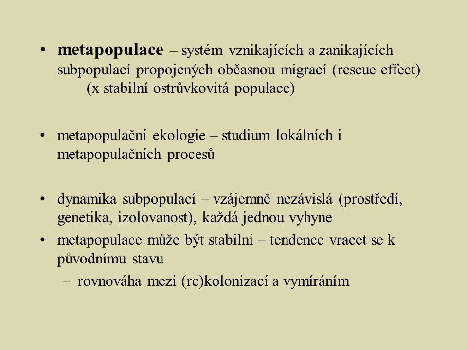 metapopulace – systém vznikajících a zanikajících subpopulací propojených občasnou migrací (rescue effect)