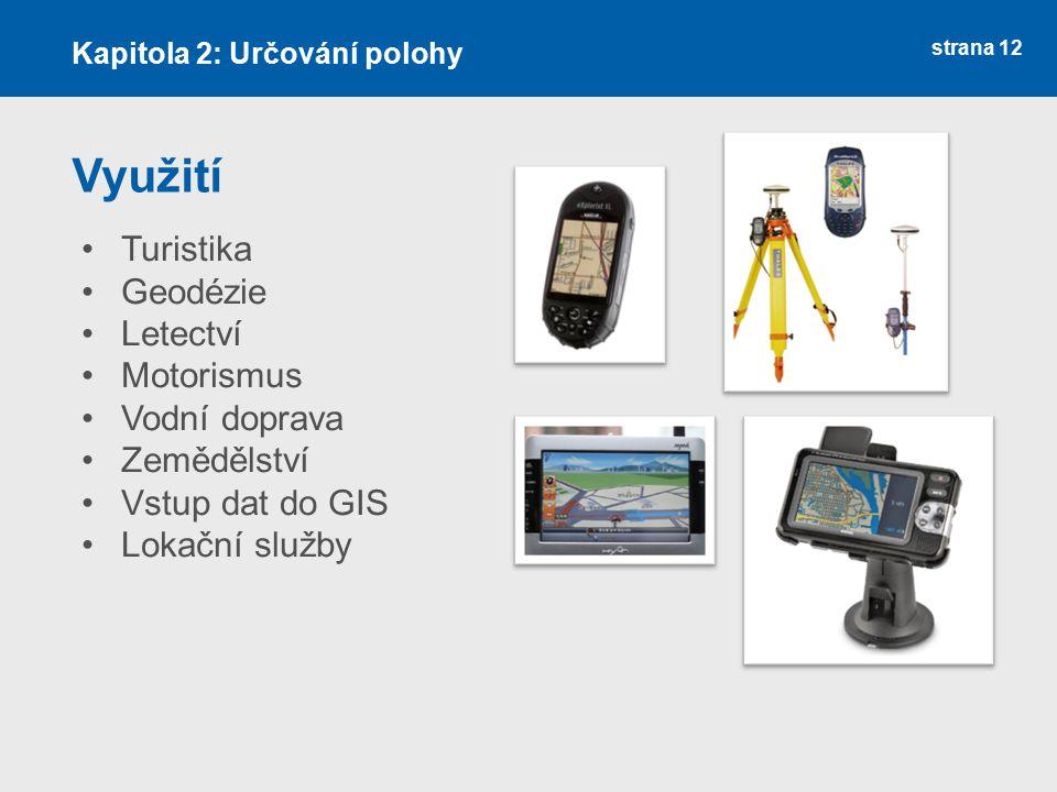 Využití Turistika Geodézie Letectví Motorismus Vodní doprava