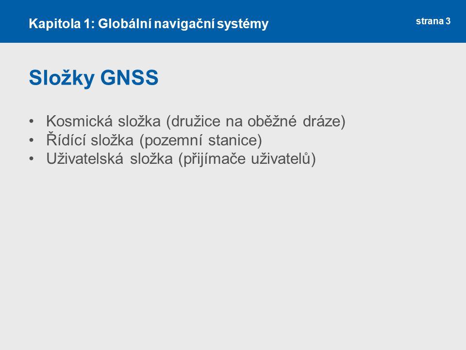 Složky GNSS Kosmická složka (družice na oběžné dráze)