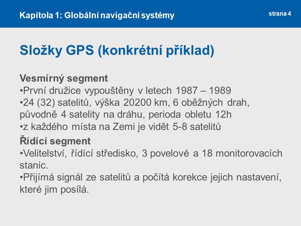 Složky GPS (konkrétní příklad)